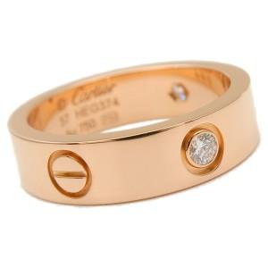 Authentic Cartier Love Ring 3P Half Diamond Rose Gold #57 US8 EU57.5 Used F/S