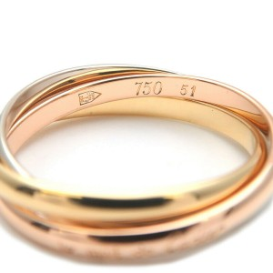 Authentic Cartier Trinity Ring K18 YG/WG/PG #51 US5.5-6 HK12-12.5 EU51 Used F/S