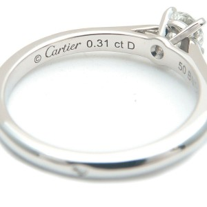 Auth Cartier Solitaire 1895 Diamond Ring 0.31ct Platinum #50 US5-5.5 Used F/S