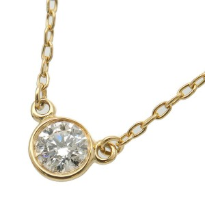 Auth Tiffany&Co. By the Yard 1P Diamond Necklace 0.12ct Yellow Gold Used F/S