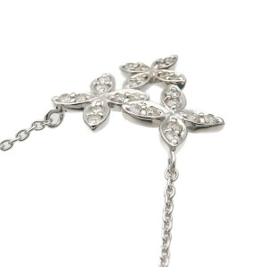 Auth VENDOME AOYAMA Flower Charm Diamond Necklace 0.15ct White Gold Used F/S