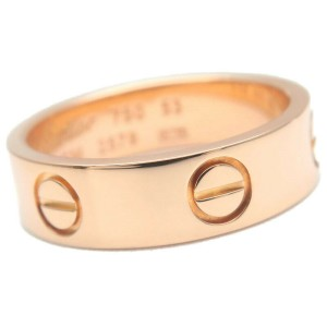 Authentic Cartier Love Ring K18 Rose Gold #53 US6.5-7 HK14.5 EU53.5 Used F/S