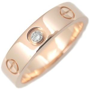Authentic Cartier Mini Love Ring 1P Diamond K18 Rose Gold #48 US4.5-5 Used F/S