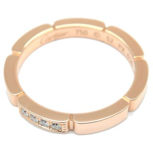 Auth Cartier maillon panthère Ring 4P Diamond Rose Gold #52 US6 EU52 Used F/S