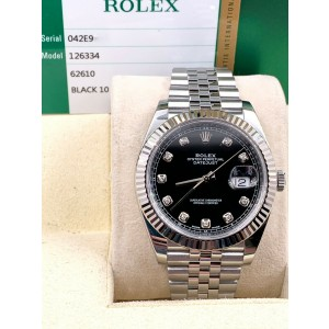 Rolex Datejust 41 126334 Black Diamond Dial 18K Bezel Stainless Box Papers 2017