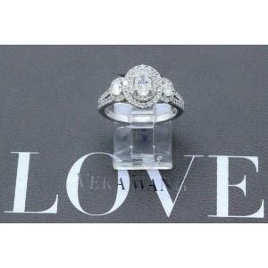 Vera Wang 1 1/2 tcw Three Stone Oval Diamond Halo Engagement Ring 14k White Gold