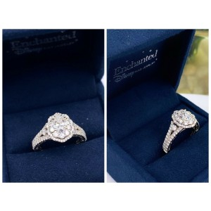 Enchanted Disney Belle 1 1/4 tcw Oval Diamond Double Frame Engagement Ring Box