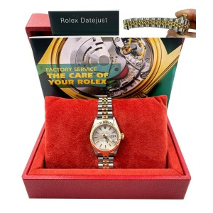 Rolex 79173 Ladies Datejust Two Tone Silver Tapestry Dial Stainless Box Booklet