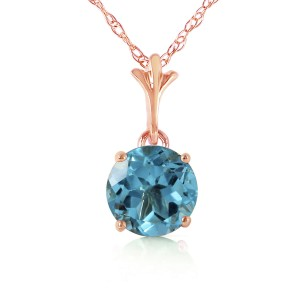 1.15 CTW 14K Solid Rose Gold Single Round Blue Topaz Necklace