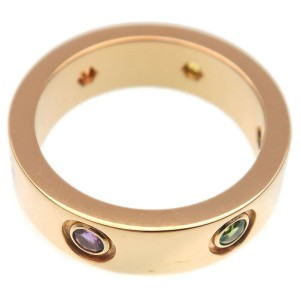Authentic Cartier Love Ring Multi Color Stone K18YG #52 US6-6.5 EU 52.5 Used F/S