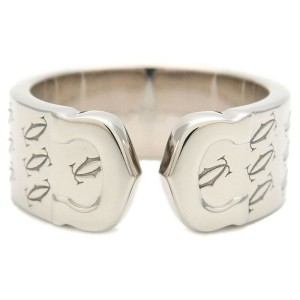 Authentic Cartier 2C Happy Birth Day Ring White Gold #53 US6.5-7 EU54 Used F/S