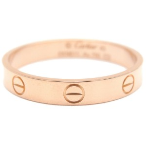 Authentic Cartier Mini Love Ring K18 Rose Gold #63 US10.5 HK23.5 EU63.5 Used F/S