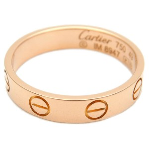 Authentic Cartier Mini Love Ring K18 750 Rose Gold #49 US5 HK10 EU49 Used F/S