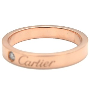 Authentic Cartier Engraved 1P Diamond Ring K18 Rose Gold #51 US5.5-6 Used F/S