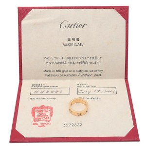 Authentic Cartier Love Ring 3P Half Diamond K18 Yellow Gold #51 US5.5-6 Used F/S