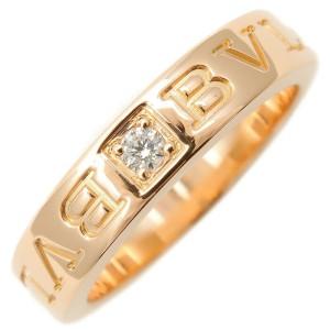 Authentic BVLGARI Double Logo Ring 1P Diamond K18 Rose Gold US5 EU49 Used F/S
