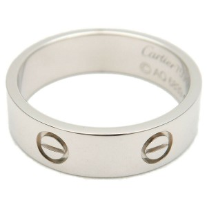 Authentic Cartier Love Ring 18K 750 White Gold #61 US9.5 HK21.5 EU61 Used F/S
