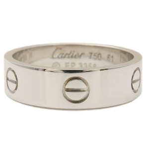 Authentic Cartier Love Ring K18 750 White Gold #61 US9.5-10 EU61.5-62  Used F/S