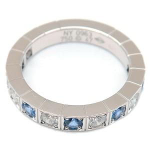 Auth Cartier Lanières Ring Half Diamond Sapphire K18WG #47 US4-4.5 Used F/S