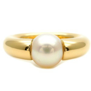 Authentic Cartier Perla Pearl Ring K18 Yellow Gold #53 US6.5 HK14 EU53 Used F/S