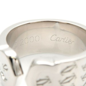 Authentic Cartier 2C Happy Birth Day Ring K18 White Gold #51 US6 EU52 Used F/S