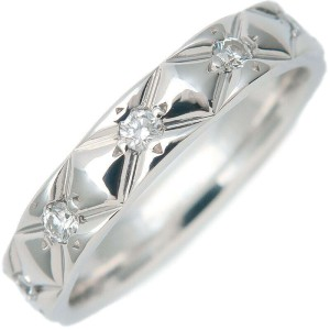 Authentic CHANEL Matelasse Ring 10P Diamond Platinum #48 US4.5 EU48 Used F/S