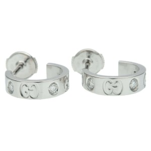 Authentic GUCCI ICON Diamond Earrings K18WG 750 WG White Gold Used F/S