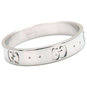 Authentic GUCCI ICON Ring K18 WG 750 White Gold #20 US9-9.5 EU60 Used F/S
