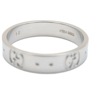 Authentic GUCCI ICON Ring K18 WG 750 White Gold #10 US5.5 HK11.5 EU50 Used F/S