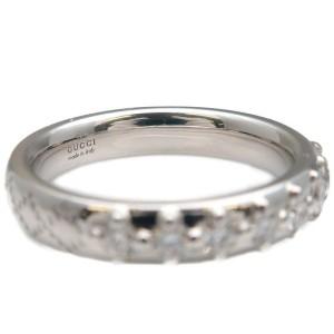 Authentic GUCCI Diamantissima 8P Diamond Ring White Gold US4-4.5 EU47 Used F/S