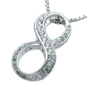 "Authentic NOMBRE ALPHA Number ""8"" Diamond Necklace 0.19ct White Gold Used F/S"