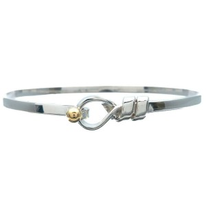 Authentic Tiffany&Co. Flat Wire Bangle Silver 925 Yellow Gold Used F/S