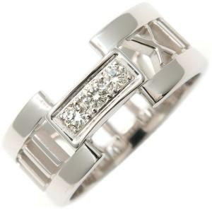 Authentic Tiffany&Co. Atlas Open 3P Diamond Ring White Gold US7 EU54 Used F/S