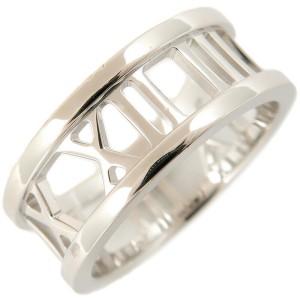Authentic Tiffany&Co. Atlas Open Ring K18 White Gold US4 HK8.5 EU47 Used F/S