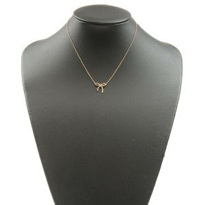 Authentic Tiffany&Co. Ribbon Necklace Pendant 18K 750 Rose Gold Used F/S