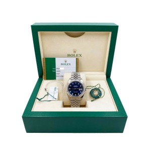 Rolex 126334 Datejust 41 Blue Diamond Dial Stainless Steel Box Papers 2019