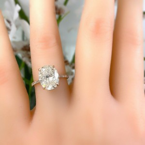 Oval Diamond 3.47 tcw Diamond Band Engagement Ring set in 18kt Rose Gold
