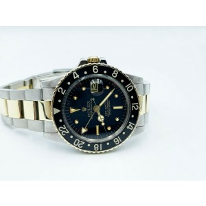 Rolex GMT Master 1675 Black Nipple Dial 14K Gold and Stainless 1978 Box Papers