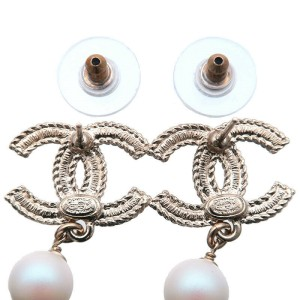 Auth CHANEL CoCo Mark Pearl Rhinestone Earrings Champagne Gold C21P Used F/S