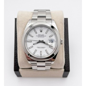 Rolex 126300 Datejust 41 White Index Dial Stainless Steel Box Papers 2019