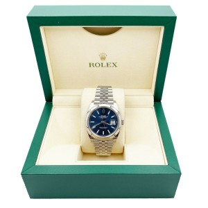 Rolex 126334 Datejust 41 Blue Index Dial 18K Bezel Stainless Steel with Box