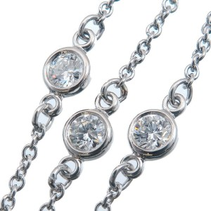 Auth Tiffany&Co. By the Yard 3P Diamond Bracelet 0.05ct×3 Platinum Used F/S