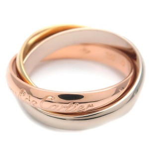 Authentic Cartier Trinity Ring K18 750 YG/WG/PG #52 US6 HK13 EU52 Used F/S