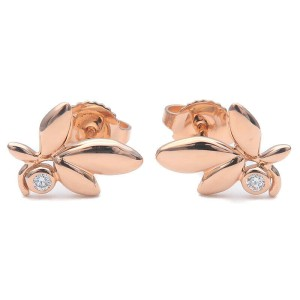 Authentic Tiffany&Co. Olive Leaf Diamond Earrings K18 750PG Rose Gold Used F/S