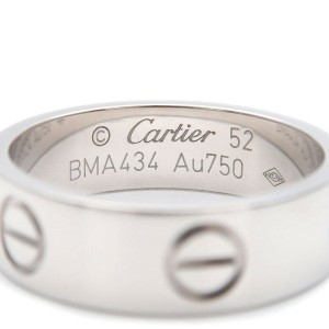 Authentic Cartier Love Ring 18K White Gold #52 US6-6.5 HK13.5 EU52.5 Used F/S