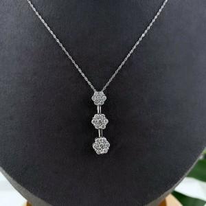 Three Station Flower Diamond Pendant Necklace