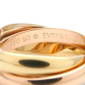 Authentic Cartier Trinity Ring K18 YG/WG/PG #53 US6-6.5 HK13.5 EU52.5 Used F/S