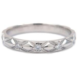 Authentic CHANEL Matelasse Ring 3P Diamond Small Platinum #46 US3.5-4 Used F/S