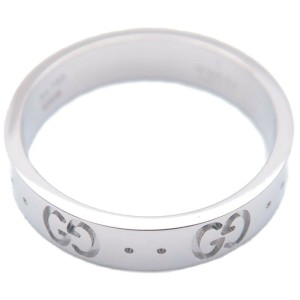 Authentic GUCCI ICON Ring 750WG K18 White Gold #11 US5.5 HK12 EU51 Used F/S