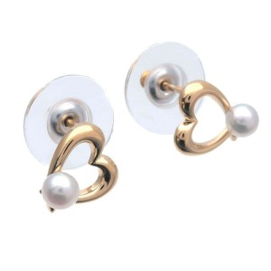 Authentic MIKIMOTO Heart Pearl Earrings K18 750YG Yellow Gold  Used F/S